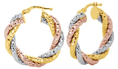 14KT Tri Color Diamond Cut Three Tube Hoop Earrings