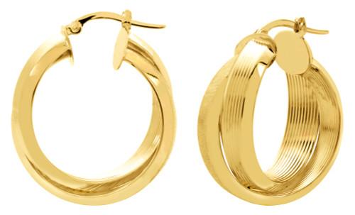 14KT Yellow Gold Serrated Hoop Earring - HP0003