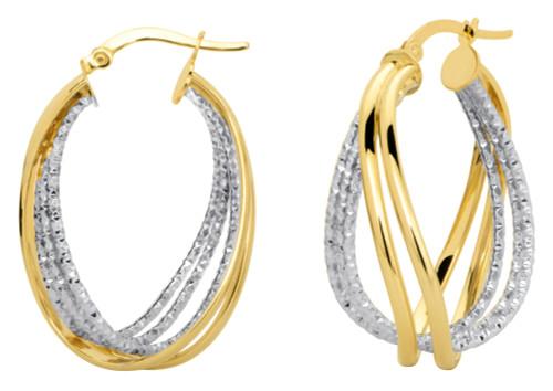 14KT Two Tone Diamond Cut Criss Cross Earrings