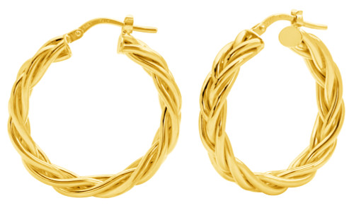14KT Yellow Gold Braided High Polish Hoop Earrings.