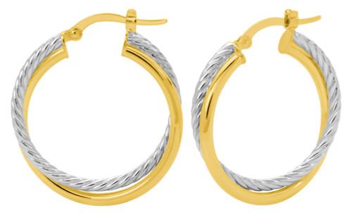 14KT Two Tone Twisted Double Tube Hoop Earrings