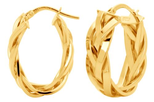 14KT Yellow Gold Braided Hoop Earrings