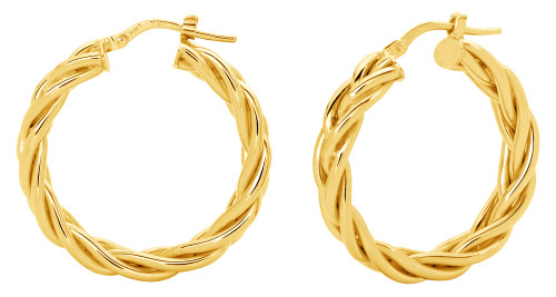 14KT Yellow Gold High Polish Four Tube Braided Hoop Earrings