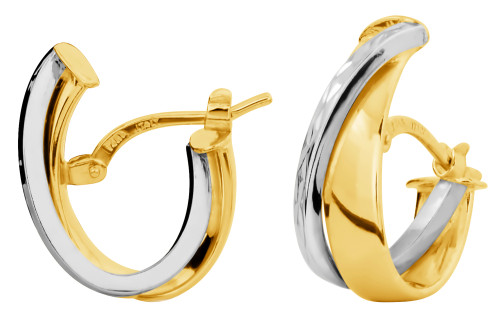 14KT Two Tone Hoop Earrings