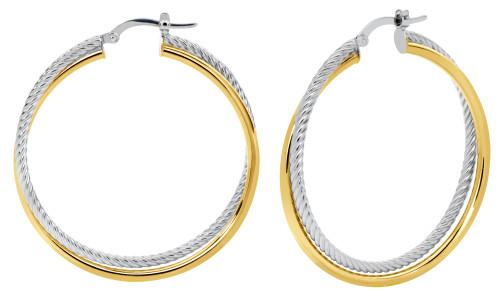 14KT Two Toned Interlinked Toob Twisted  Hoop Earrings