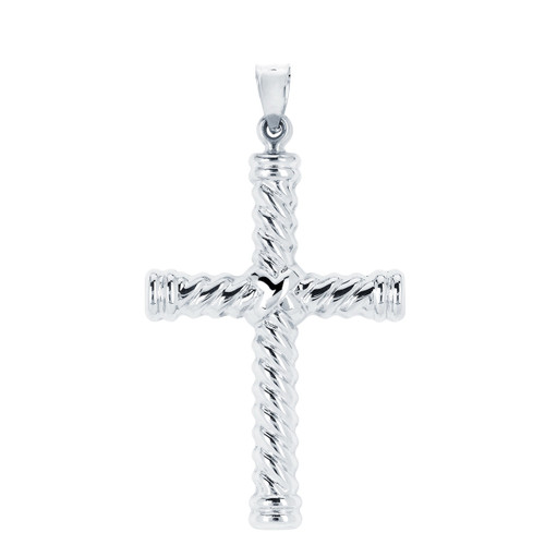 14KT White Gold High Polish Cross With Twist and Edging