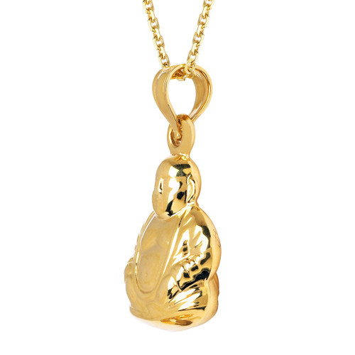 14KT Yellow Gold  Buddah Pendant Charm With Chain