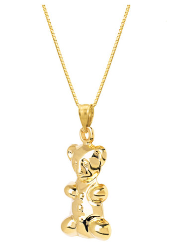 14KT Yellow Gold Hollow Teddy Bear Charm with Chain