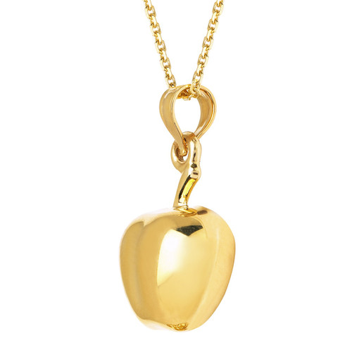 14KT Yellow Gold Hollow Apple Charm with Chain