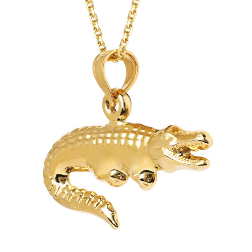 14KT Yellow Gold Hollow Alligator Charm with Chain