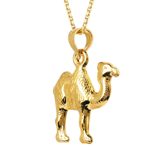14KT Yellow Gold Hollow Camel Charm with Chain