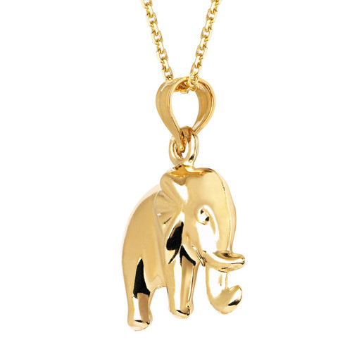 14KT Yellow Gold Hollow Elephant Charm