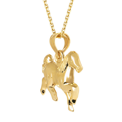14KT Yellow Gold Hollow Horse Charm