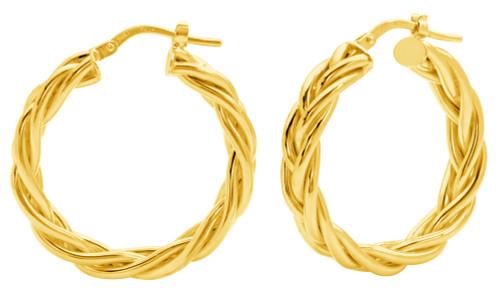 14 KT Yellow gold braided hoop earrings