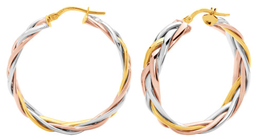 14KT Tri-Color Gold High Polish Wide Braided Hoop Earrings
