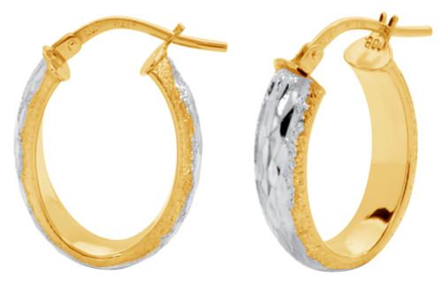 14KT Two Tone Oval Shaped Diamond Cut Hoop Earrings
