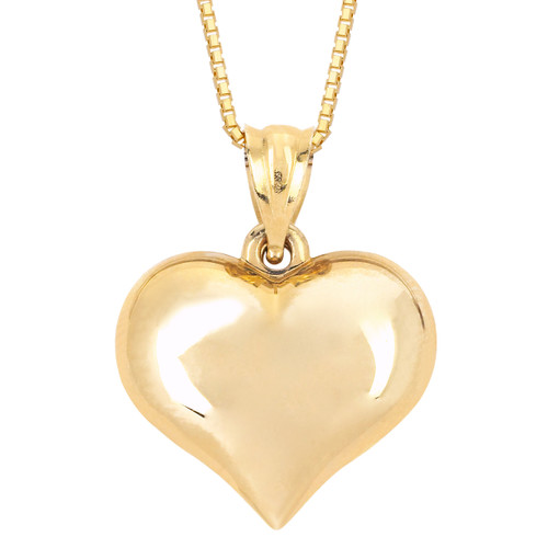14KT Yellow Gold Plan Puffed Heart With Chain