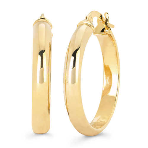 14KT Yellow Gold Half Round High Polished Hoops
