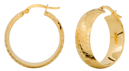 14KT Yellow Gold Diamond Cut Wide Hoop