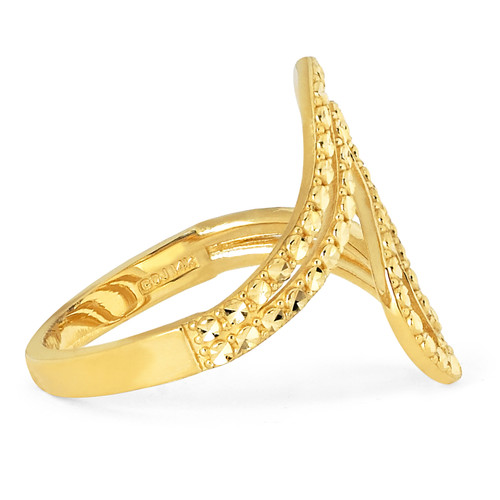 14KT Yellow Gold Diamond Cut Ribbon Ring - RG111DCY
