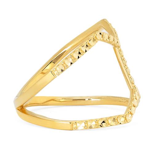 14KT Yellow Gold Diamond Cut Fancy Ring
