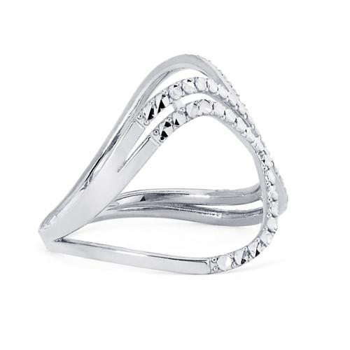 14KT White Gold Diamond Cut X Ring - RG109DC