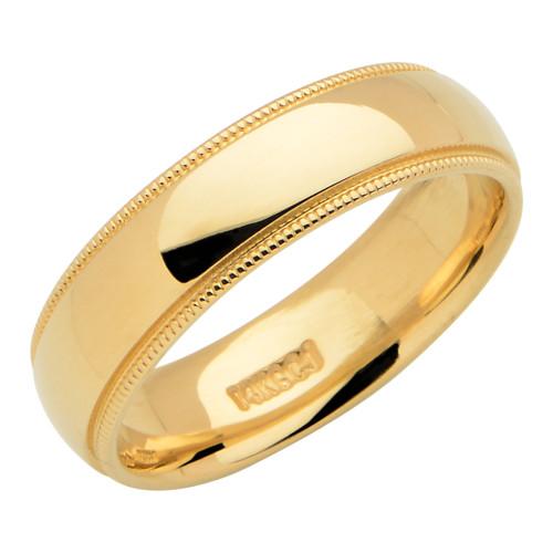 14KT Yellow Gold 6MM Milgrain Wedding Band - 6MM-MG14KY