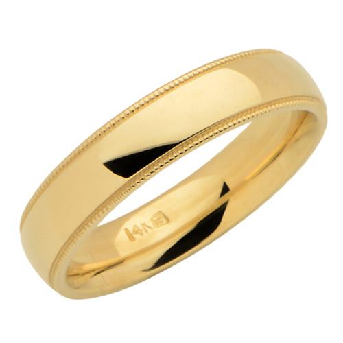 14KT Yellow Gold 5MM Milgrain Wedding Band Sizes 5 thru 7