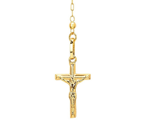 """14kt 14KT Yellow Gold Diamond Cut Rosary Necklace in 18""""- ROS1YG"""