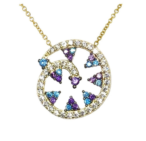 14KT Blue Crystal Swirl Necklace