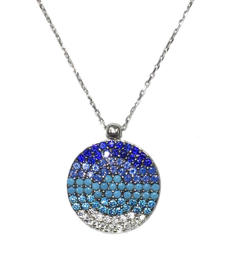 "14KT Blue Crystal Round Necklace 17"""