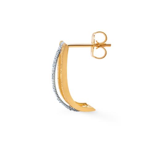 14KT Two Tone Diamond Cut Art Deco Stud Earrings