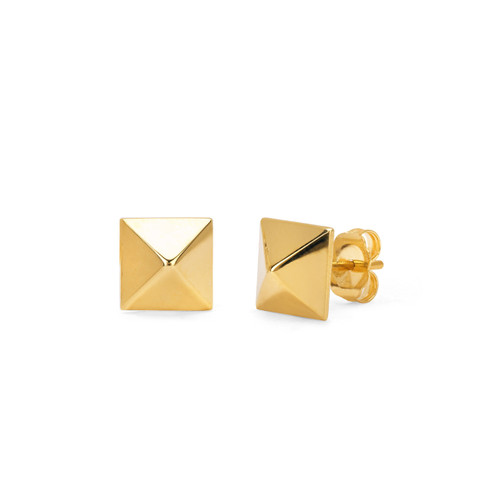 14Kt Yellow Gold Square Pyramid Stud Earrings