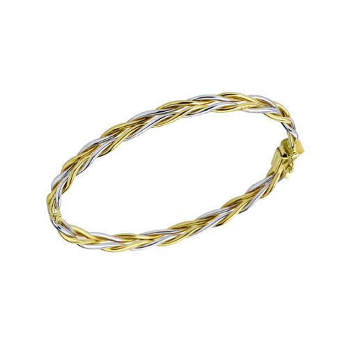 14Kt Tri Color Braided Bangle