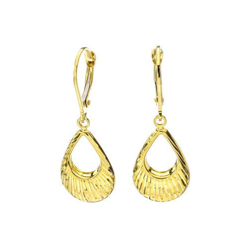 14Kt Yellow Gold Diamond Cut Tear Drop Dangling Earrings .