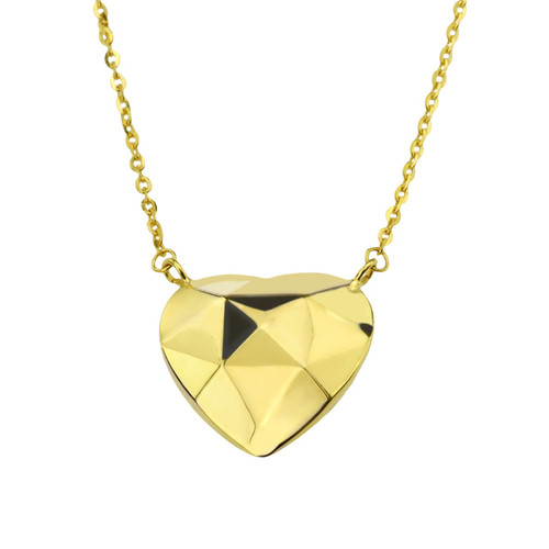 14Kt Yellow Gold Faceted Heart Necklace On Cable Chain.