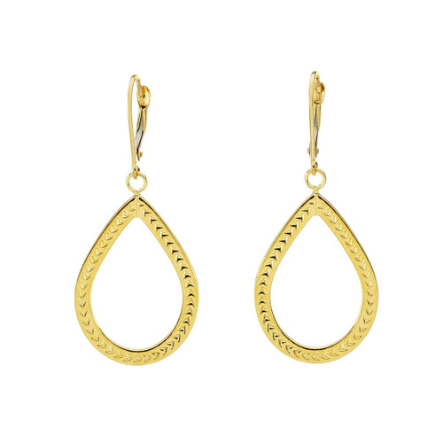 14Kt Yellow Gold Textured Oval Tear Drop Dangling Earrings