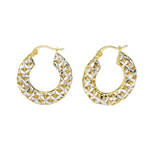 14KT Two Tone Diamond Cut Filigree Puffed Round  Hoop Earrings
