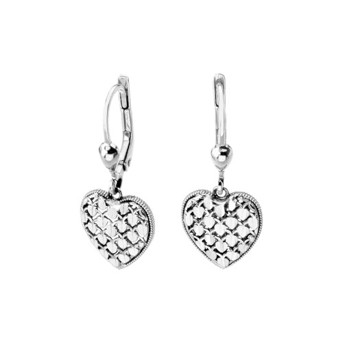 14KT White Gold Diamond Cut Heart Dangle Earrings