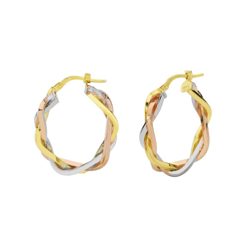 14KT Tri Color Braided Oval Hoop Earrings