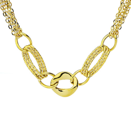 14Kt Yellow Gold Multi-Chain Link Element Necklace