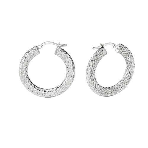 14Kt White Gold Lazer Textured Round Hoop Earrings