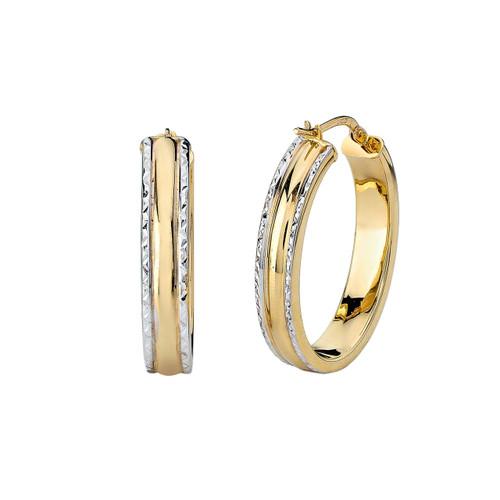 14Kt Two Tone Diamond Cut Edge Oval Hoops