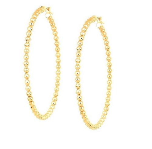 14KT Yellow Gold Bead Hoop Earrings