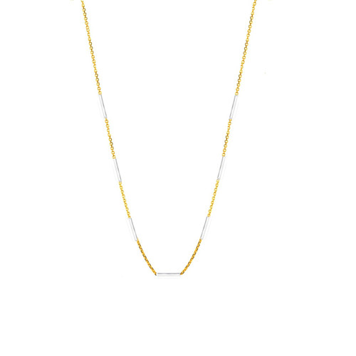14KT Two tone multi bar necklace-NK5005