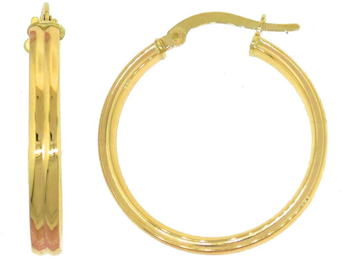 14KT Yellow Gold High Polish Ribbed Earrings