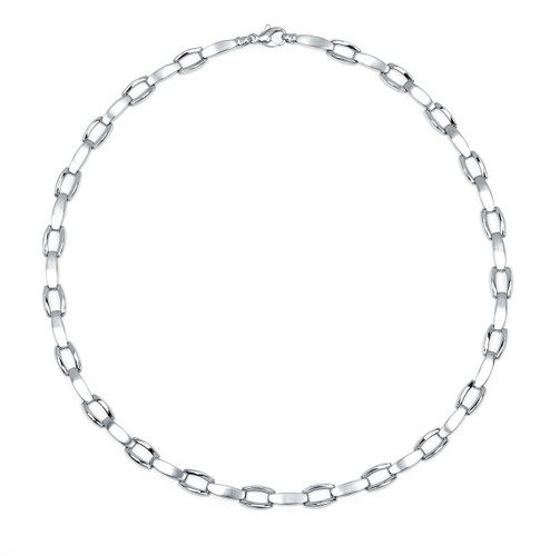14KT  White Gold High Polish and Satin Finish Link Necklace