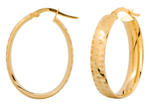 14KT Yellow  Gold Diamond Cut Oval Hoop Earrings