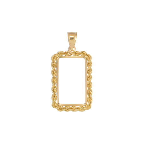 14KT Yellow Gold 2.5 Gram Rope Rectangular Shape Coin Frame Necklace