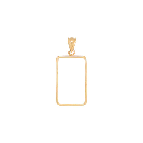 14KT Yellow Gold High Polish 2.5 Gram Coin Frame Necklace